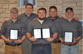 Steel bridge builder team: (back row, from left) Raymond Van Zee and Blake Adams; (front row, from left) Kyle Parks, Ben Mullins and Justin Hopkins.