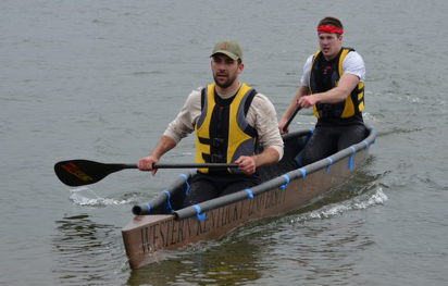 Concrete canoe men's sprint race. From left: Jackson Daugherty and Michael Pickett.