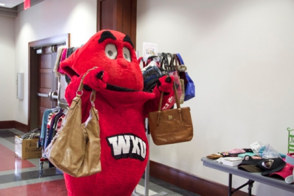 Big Red stopped by the WKU Thrift Shop on April 15.