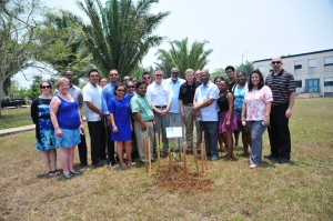 "A ""Tree of Change"" was planted April 28 at the University of Belize. The mahogany tree is the national tree of Belize."