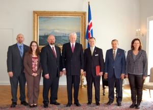 WKU's meetings in Iceland included a visit to the Presidential residence in Reykjavik. From left: WKU Geography & Geology's Dr. Jason Polk and Dr. Leslie North, University of Akureyri Rector Eyjolfur Guomundsson, Iceland President Olafur Grimsson, WKU President Gary A. Ransdell, WKU Scholar in Residence Dr. Bernie Strenecky, and Icelandic Arctic Cooperation Network's Director Embla Eir Oddsdottir. (WKU photo by Jeff Younglove)