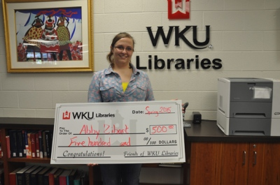 "Jessica ""Abby"" Zibart received the WKU Library Student Assistant Scholarship."