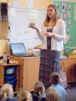 Harmony Hendrick presents lessons at Denton Primary School.