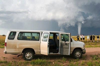 Since its inaugural year in 2010, WKU Storm Chasers have traveled 37,222 miles across 19 of the central United States and documented more than 30 tornadoes like this one on May 31, 2010, near Campo, Colorado. (Photo courtesy of Josh Durkee)