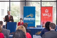 Presidents Dr. Augusta Julian of Bluegrass Community and Technical College and Dr. Gary Ransdell of WKU signed a joint admissions agreement Tuesday (May 5). (WKU photos by Clinton Lewis)