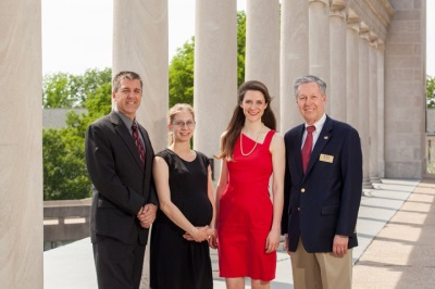 Two music students will be recognized as WKU's top scholars at its 177th Commencement. Alyna Bloecher (second from left) will receive the John D. Minton Award for outstanding graduate student on Friday night, while Sarah Fox (third from left) will receive the Ogden Foundation Scholar Award on Saturday night. Dr. Scott Harris, (left) head of the Department of Music, and Dr. David Lee, (right) dean of Potter College of Arts & Letters, are proud of the students' accomplishments. (WKU photo by Clinton Lewis)