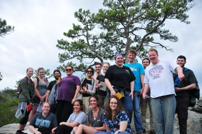 WKU students at Pickle Springs overlook in the Ozarks.