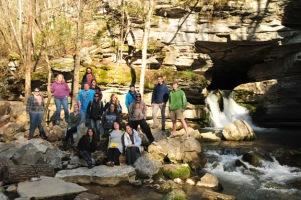 The WKU group at Blanchard Spring, the exit point for a large volume of water that flows through the karstic Blanchard Springs Caverns system.