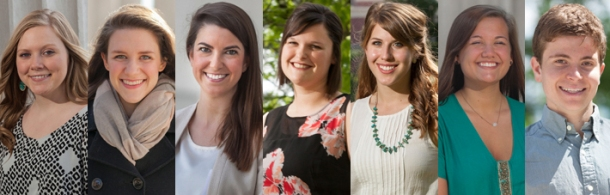 Seven WKU students have been honored by the Fulbright U.S. Student Program. From left: Erin Asher, Sarah Fox, Lindsey Houchin, Kayla Sweeney and Rebecca Thieman received Fulbright grants to study or teach English abroad; Hayley Hilbert  and Ryan Vennell are alternates.