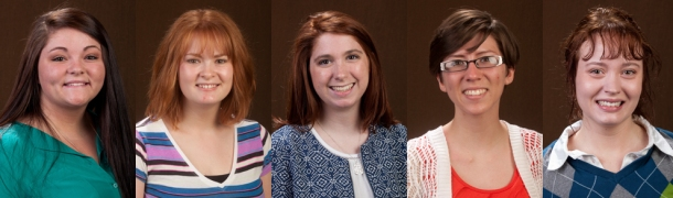 Three WKU students will study abroad this summer on Benjamin A. Gilman International Scholarships; two more students were selected as alternates. From left: Chasity Jane Hodge, Abigail Vickers and Amy Wolterman were awarded scholarships; China Rose Brown and Colleen Lorraine Goodson were selected as alternates.