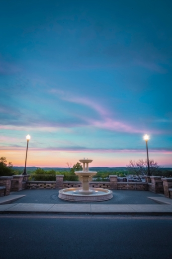 guthrie fountain sunset
