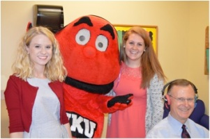 WKU President Gary Ransdell and Big Red participated in the campus-wide hearing screenings on May 7.