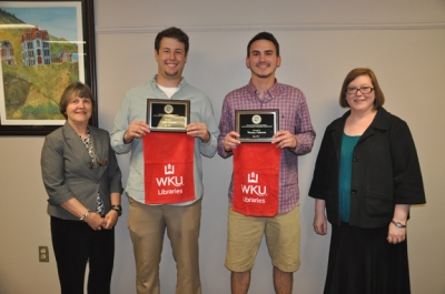 WKU Libraries and WKU University Experience presented the undergraduate research awards on May 4. From left: WKU Libraries Dean Connie Foster, Logan Secrest, Wesley Osborne, and University Experience Coordinator Sara McCaslin.