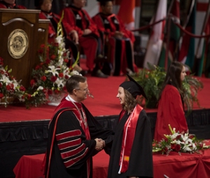 WKU President Gary Ransdell congratulated members of the Class of 2015. (WKU photo by Bryan Lemon)
