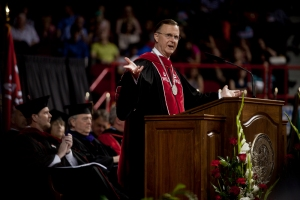 WKU President Gary Ransdell delivered remarks at the graduate ceremony May 15. (WKU photo by Bryan Lemon)
