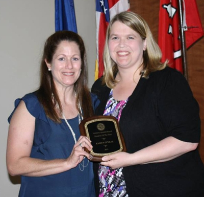 Karyn O'Neal of Bowling Green (left) is presented with the Student of the Year Award by VUB Academic Coordinator Beth England.