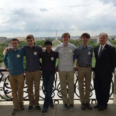 During their trip to the 2015 National Science Bowl, members of The Gatton Academy team visited Congressman Brett Guthrie. From left: Brian Carlson, Paul Hudson, Rohan Deshpande, Ben Riley, Ben Guthrie and Rep. Guthrie. (Photo by Zack Ryle)