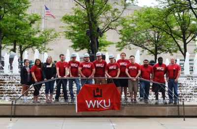 WKU's Steel Bridge team finished 25th overall in the 2015 national competition. From left: Allyson Alvey, Sarah Hay, Lindsey Gadberry Phelps, Dalton Hankins, Justin Hopkins, Ben Mullins, Blake Adams, Kyle Parks, Raymond Van Zee, C. Jeremiah Short, Khaled Alammar, Ashane Netthisinghe and Dr. Shane Palmquist , faculty advisor. The students who constructed the bridge during the national competition are wearing WKU hardhats.