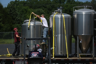 Brewery equipment was delivered June 10 to WKU's Center for Research and Development. (WKU photo by Bryan Lemon)