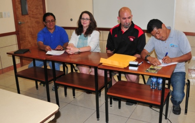 Faculty from WKU's Department of Geography and Geology and Friends for Conservation and Development (FCD) of Belize signed a cooperative research, training and partnership agreement on May 5. From left: FCD Board of Director's President Dr. Filiberto Penados, WKU faculty member Dr. Leslie North, WKU faculty member Dr. Jason Polk, and Executive Director Rafael Manzanero.
