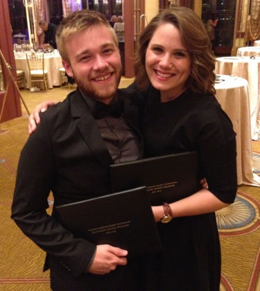 WKU's Adam Wolffbrandt (left) won the 2015 Hearst National Multimedia Championship. Katie Meek (right) also was among the finalists in the competition. Awards were presented June 4 in San Francisco.