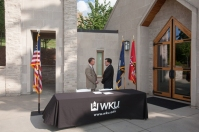 WKU and English as a Second Language International signed a new five-year agreement on July 21. (WKU photo by Clinton Lewis)