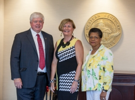 WKU's Board of Regents installed new officers on July 24. From left: Frederick A. Higdon of Lebanon, Chair; Melissa B. Dennison of Glasgow, Vice Chair; and Cynthia Harris of Louisville, Secretary.