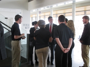 Ambassador Robert Barber engages in discussion with WKU students during the Arctic Council Roundtable reception.