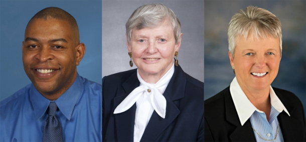 Members of the 24th class of WKU's Hall of Distinguished Alumni will be inducted Nov. 6. The 2015 inductees are (from left) Thomas A. George III, Naomi J. McAfee and Nancy L. Quarcelino.