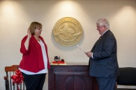 Tamela Smith took the oath of office as staff regent on July 24.
