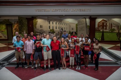 President Gary Ransdell led a WKU campus tour on Aug. 5.