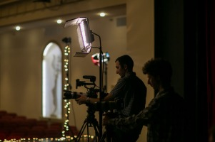 """A crew from WKU PBS worked on an upcoming episode of """"Lost River Sessions"""" on Aug. 11 at Van Meter Hall."""