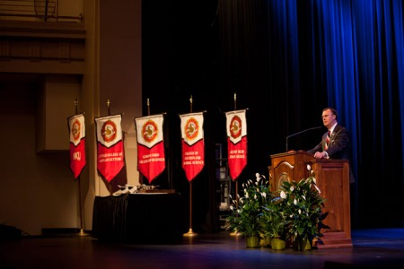 WKU President Gary Ransdell addressed faculty and staff at the 2015 opening convocation on Aug. 21 at Van Meter Hall. (WKU photos by Clinton Lewis)