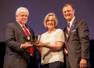 Dr. Eve Main, associate professor, School of Nursing, received the University Award for Public Service