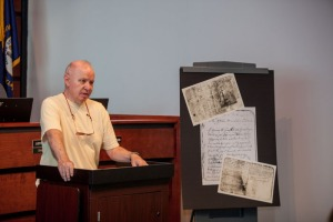 Dr. Delroy Hire discussed the Patriot Samuel W. Garrison Memorial Scholarship at the Aug. 24 announcement in Scottsville. (WKU photo by Clinton Lewis)