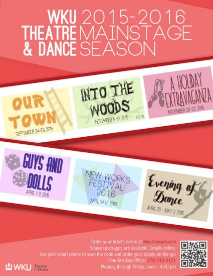 Tickets for the WKU Theatre and Dance 2015-2016 Mainstage season are available online at wku.showare.com or by calling the Fine Arts Box Office at (270) 745-3121; box office hours are noon to 4:30 p.m. Monday-Friday. Season packages are available.