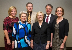 Tracy Inman (from left), Martha Sandefur, J.T. Sandefur, Julia Link Roberts, Sam Evans and Mary Evans pose for a picture after Roberts received the Distinguished Educator Award from the Kentucky Association of Teacher Educators Sept. 25 at the Knicely Conference Center in Bowling Green. J.T. Sandefur was dean of the College of Education and Behavioral Sciences when Roberts started The Center for Gifted Studies 34 years ago, and Sam Evans is the college's current dean. (Photo by Sam Oldenburg)