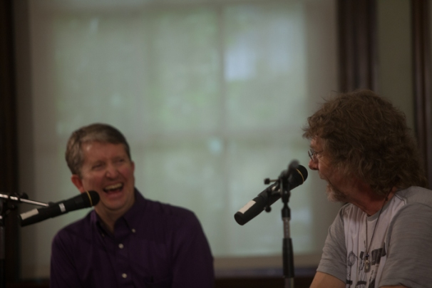 As part of his Sept. 12 visit to WKU, Sam Bush participated in an interview at the Kentucky Building.