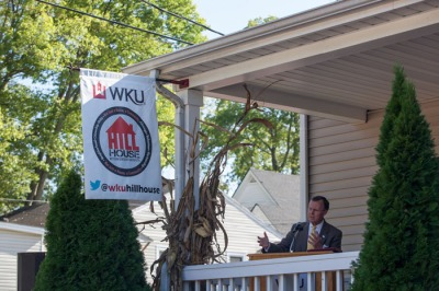 WKU President Gary Ransdell spoke during the Community Partnerships Day event Sept. 18 at the WKU Hill House on East 11th Street. (WKU photo by Clinton Lewis)