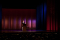 Provost David Lee introduced Nina Totenberg at the Cultural Enhancement Series event on Sept. 21.