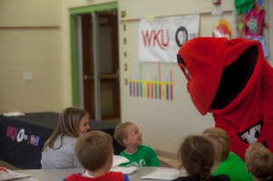 With the help of WKU mascot Big Red, representatives of WKU PBS delivered a second round of books to area children on Sept. 22 as part of its Reading Readiness campaign.