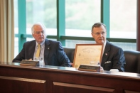 WKU President Gary Ransdell showed the Board of Regents a diploma from Ogden College.