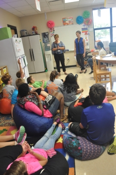 212° Academy teacher Jennifer Sheffield and WKU Libraries Literary Outreach Coordinator Sara Volpi visited with the Tuesday Academy students.