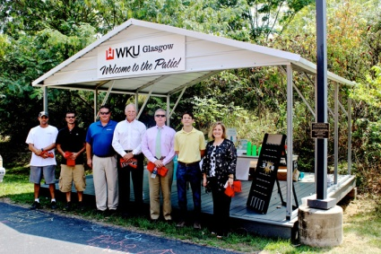 Regional Chancellor Dr. Sally Ray (far right), recognized several people for their parts in donating an outdoor stage to the WKU Glasgow campus on Wednesday. Included among the honorees were (from left): Chris Perkins, Perkins Excavating; Jeff Phillips, Lawn Pro; Jeff Hinkley, HVAC Services, Inc.; Dr. Jerry Ralston and Billy Ray, Sustainable Glasgow, Inc., and Ben Bucher, Square Deal Lumber Company.