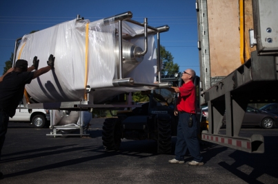 Brewery equipment was delivered to the Center for Research and Development on Oct. 8.