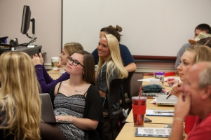 A Communication class worked on a project on Oct. 15.
