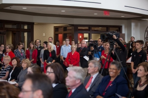 The dedication ceremony for the Honors College/International Center was held Oct. 23.