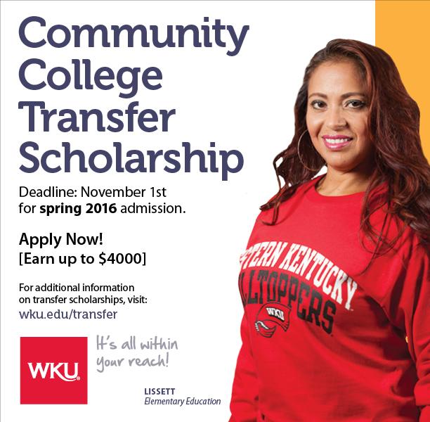 Community College Transfer Scholarship deadline Nov. 1 | WKU News