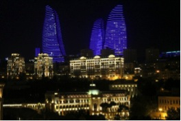 Urban redevelopment in Baku, Azerbaijan, with the famous Flame Towers in the new financial district.