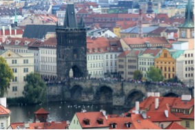 The famous Charles Bridge in central Prague.